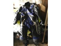 Men's leather race suit. Boots and gloves
