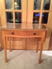 reproduction table with glass top for sale
