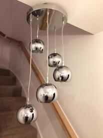 Cascade chrome silver effect 5 lamp ceiling light