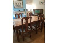Solid Mexican wood dining table and 6 chairs