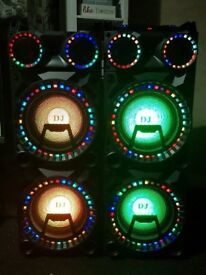 Xl Dj multimedia speakers . Bluetooth and AUX compatible LED lighting.