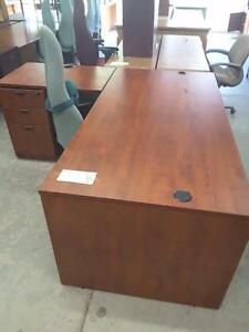 Cherry L shaped desk with pedestal