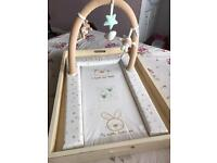 Cot top changer with change mat