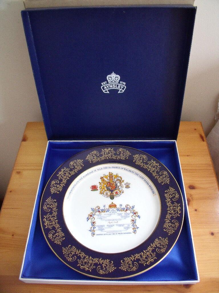 Vintage Aynsley Bone China Charles Di Royal Wedding 1981 Memorabilia Collectible Commemorative Plate