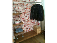 Contemporary storage unit, shelf, open wardrobe, solid wood and steel pipe, custom made, new