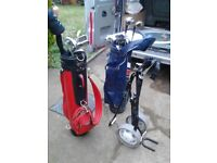 2 sets of golf clubs and 1 trolley very good order with golfs balls offers