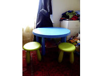 IKEA Mammut Round Table and Two Stools for toddlers/small children