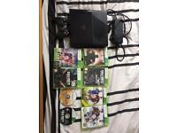 Xbox 360 250gb with 8 games , 1 controller and includes all cables