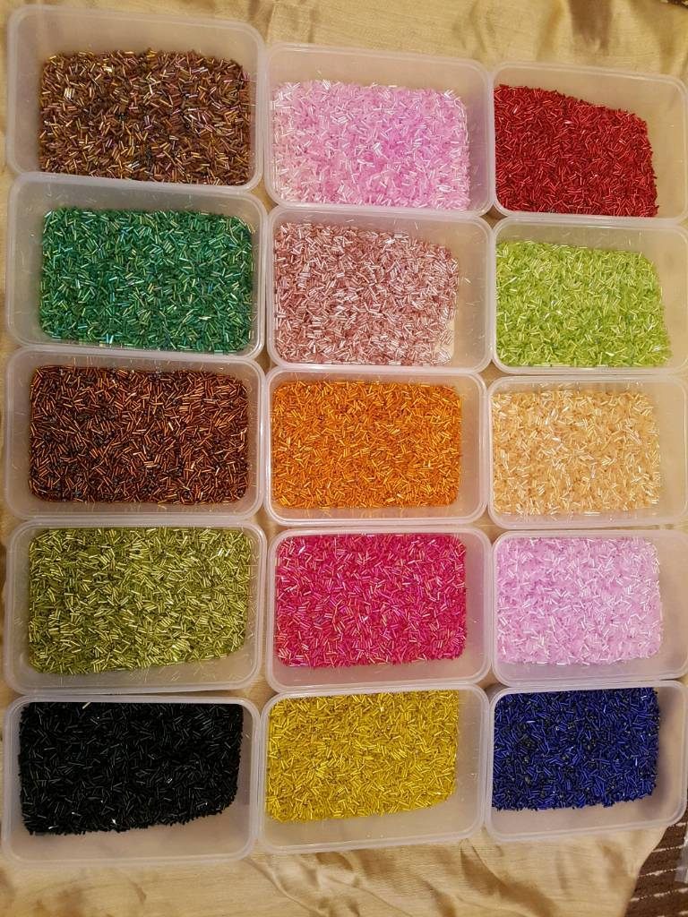 joblot of beads for sewing, jewellery making, arts and crafts, 18 coloursin LondonGumtree - job lot of 18 containers of beadsperfect for arts and crafts/ jewellery making gorgeous colourseach container is 650ml with the beads filling just above half way with 2 or 3 half way or just belowwill update with more info shortly but if u have any...