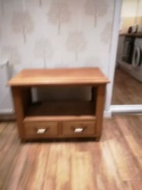 Wooden cabinet TV stand with 2 draws length 83cm width 42cm and height 67cm