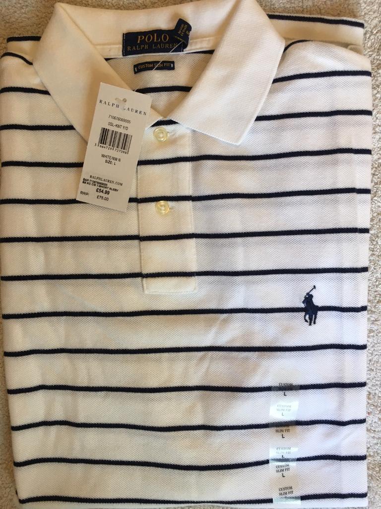 c6be8efb3 Ralph Lauren Men s Polo Shirt Cotton Large Slim Fit White Navy stripes RRP  £75