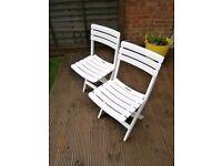 Garden chair / folding chair white plastic x2