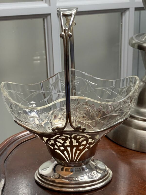 Shreve & Co. sterling & glass insert basket vase