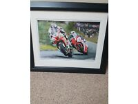 Michael and William Dunlop signed framed print