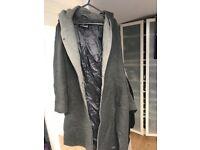 Warm wool coat with hoodie