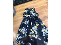 Womans black floral asymmetrical dress size 18