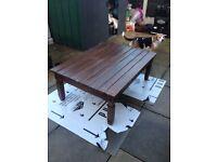 Dark wood rustic farm house coffee table