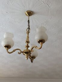 Solid Brass 3 branch ceiling light with glass shades