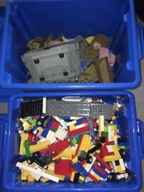 Box of Lego's and assorted figurines