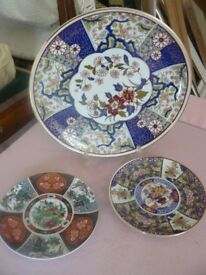 Chinese Imari style decorative plates plus pink floral plate