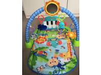Fisher-Price Kick & Play Piano Baby Gym, Blue/play mat playmat