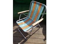 Retro CWS CO OP Camping folding striped garden deck chair VW Camper