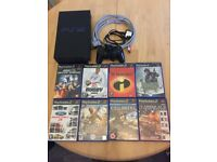 PS2 Console with one controller, cables and games