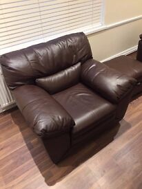 Leather One Seater Sofa - Chocolate Brown Brand New!