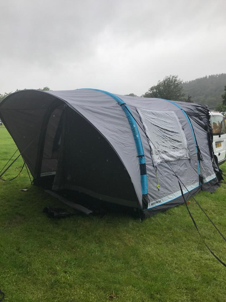 Inflatable awning for camper van