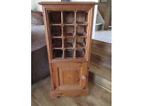 Natural pine wine and storage floorstanding cupboard