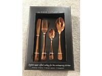 Brand New 16 Piece Copper Cutlery Set
