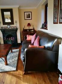 Leather 3 Seater Sofa & Pouffe