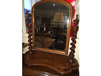 Exquisite Original Antique Mahogany Barley Twist Victorian Table Top Swivel Vanity Dresser Mirror