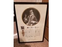 Antique Pope Benedict XV papal blessing framed and signed