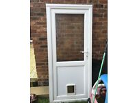 White pvc back door with fitted cat flap