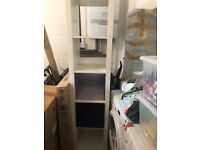 Tall White Ikea Plastic Display cabinet, with 3 baskets