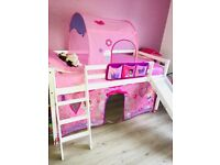 Children's midi sleeper bed with chute and underbed storage