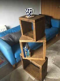 side table coffee rustic chunky wood bed solid sleeper cube lamp cabinet (handmade)- nut tree colour