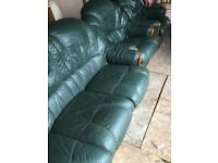 Green leather sofa and 2 armchairs free