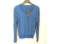 A Genuine F & F Size 16 Royal Blue Polka Dot Round Neck Ladies Cardigan