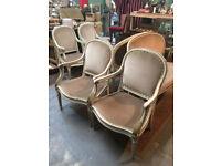 Vintage Edwardian Style Taupe Velvet Fabric Lounge Seat Suite Set Gold Gilding