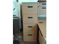 Wooden 4 drawer filing cabinet