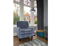 Blue Patterned Accent Chair