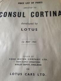 Lotus cortina partsbook