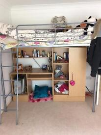 Cabin bed with wardrobe, storage and desk