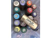 Montana Gold Spray Paints x 17 for arts and crafts
