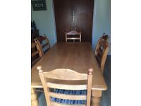 Solid Light Wood Dining Table with 6 Chairs
