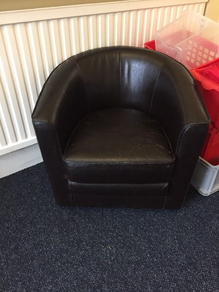Sold 1 Vintage Dark Brown Leather Tub Chairs In Norwich