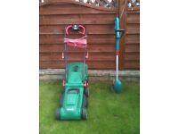Qualcast lawnmower Bosch strimmer