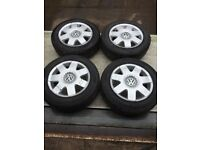 Genuine VW Polo Set of 4 alloy wheels 5 stud 5x100 to fit year 2002-2009
